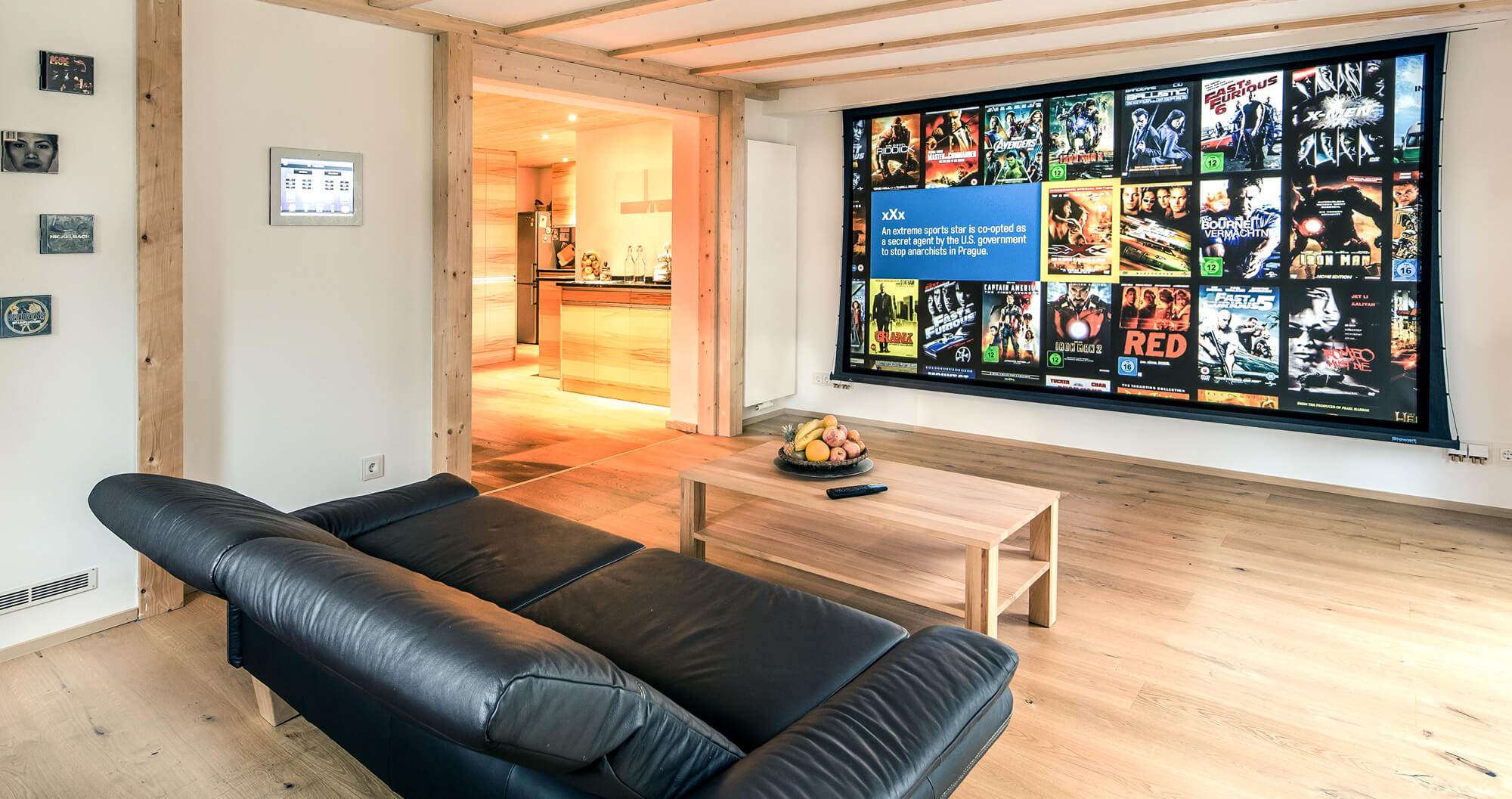 Livingroom with big canvas screen