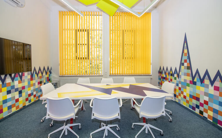 Bright colored meeting room
