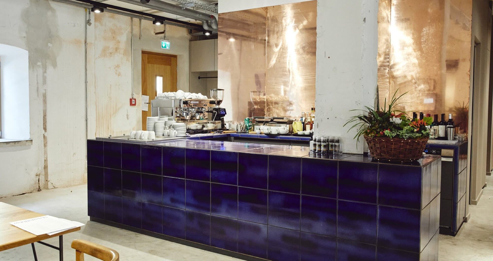 Modern bar with big blue tiles